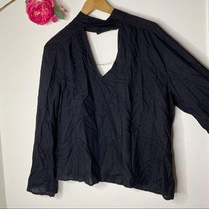 Kensie Long Sleeve High Neck Blouse
